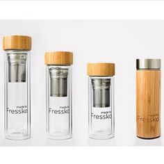 The Fressko Family.  300, 400 & 500ml Glass & Bamboo Double walled Chemical free 2 in 1 filter\infuser We ship worldwide