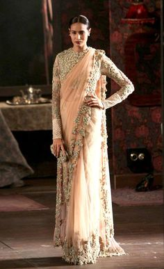 Sabyasachi Mukherjee designed peach and silver saree or sari with blouse. India Couture Week - Bridal. Indian Couture.