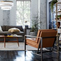 Dark floors = automatic LIKE.  #westelm #style #leatherchair