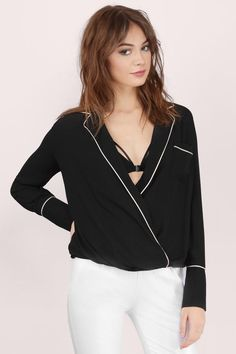 """Search """"Goodnight Kiss Black Blouse"""" on Tobi.com! plunge plunging neckline wrap front pajama style pj blouse top chiffon black white trim piping top trendy"""