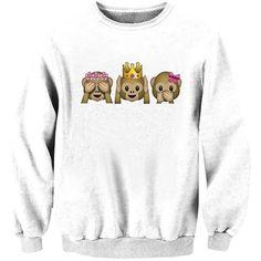 Womens Crew Neck Monkey Emoji Printed Chic Pullover Sweatshirt White ($17) ❤ liked on Polyvore featuring tops, hoodies, sweatshirts, white, pullover sweatshirts, pullover tops, white sweat shirt, crew-neck sweatshirts and sweat shirts