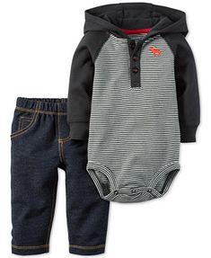 Carter's Baby Boys' 2-Pc. Long-Sleeve Hooded Bodysuit & Pull-On Jeans Set   macys.com