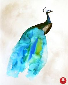 """11\""""x14\""""  This is a print of the original illustration by Christine Lindstrom.   Title - \""""Peacock II\""""  Printed with archival inks on Hahnemuhle Torchon paper - $24.50"""