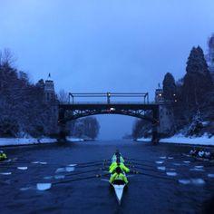 University of Washington Crew through the Montlake Cut in snowy Seattle