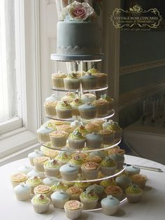 duck egg blue cupcake tower