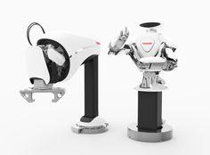【重量物組立・搬送システム】工場の組立ラインで人と協調して作業を行うことを目指して開発されたロボットです。「人を想う」という共通のコンセプトでデザインされたこの2つのロボットは、力強い性能を感じさせながらも、どことなく優しい印象をもたせています。また、それぞれが同じ場所に存在することも考慮して、統一感のあるデザインとしています。