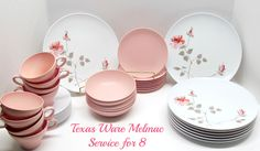Vintage Melmac Dinnerware, Service for 8, Texas Ware Pink Rose Motif, Mid Century Melamine, White Pink Gray Taupe, by GrammysGoodys on Etsy