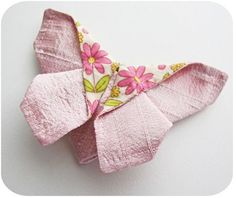 There is tutorial, to make a sewn origami butterfly, going around on Pinterest, and while it looks pretty simple there seems to be a few missing steps. Click this link for the original link for fabric size: http://keyka.typepad.com/my_weblog/2013/04/origami-butterfly.html, then click this link for the folding. http://www.origami-instructions.com/origami-matthews-butterfly.html