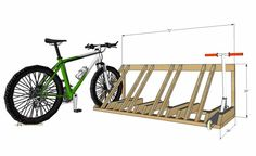 DIY Bike and Scooter Rack - Her Tool Belt - The perfect way to organize those bikes and scooters all over the garage. Free and easy plans to bu - Wood Bike Rack, Diy Bike Rack, Bicycle Storage, Bicycle Rack, Diy Rack, Bike Floor Stand, Rack Velo, Garage Velo, Bike Racks For Garage