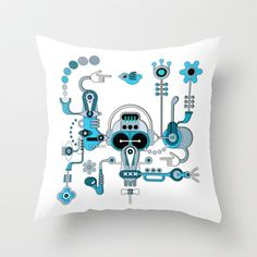 The Bluesman Throw Pillow by Robin Curtiss - $20.00