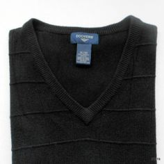 Dockers Black 100% Acrylic V-Neck Sleeveless Sweater Vest Men's Size XL www.bevsthisnthatshop.com