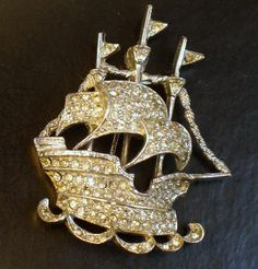 Vintage Signed ART Rhinestone Sailing Ship Brooch