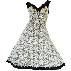 1950s Lace on Black Cocktail Party Dress ❤ liked on Polyvore featuring dresses, vestidos, black lace dress, black cocktail dresses, lacy dress, black dress and kohl dresses