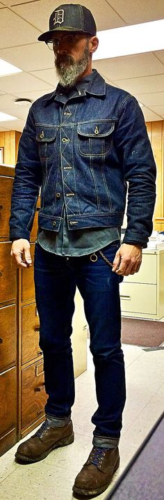 Monday Workclothes - Brave Star 18.5oz selvage denim jeans, Brave Star 14oz Steadfast ⚓️ selvage denim jacket, 1970's twill workshirt, Red Wing 2233 steel toe boots, denim lid.