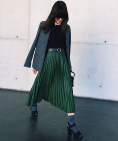 cold weather layers and a gorgeous green accordion skirt