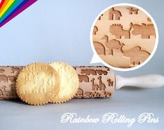 Embossing rolling pin for cookies laser by RainbowRollingPins