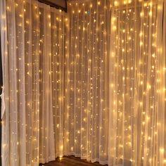 Fairy Light Curtain, Led Curtain Lights, Wall Lights, Curtains With Lights, Room Lights Decor, Wall Fairy Lights, Lights For Room, Fairy Light Decor, Decorating With Fairy Lights