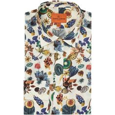 Simon Carter Liberty Floral Earth Print Shirt ($170) ❤ liked on Polyvore featuring men's fashion, men's clothing, men's shirts, men shirts formal shirts, mens slim shirts, mens patterned shirts, guy harvey mens shirts, organic cotton men's clothing and men's apparel