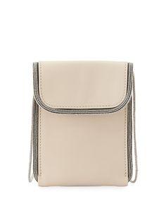 Mini Monili-Trim North-South Crossbody Bag, Natural - Brunello Cucinelli