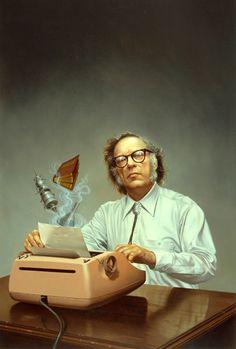 Biochemist and pop sci-fi writer Isaak Yudovich Ozimov (Isaac Asimov) as immortalized by Rowena Morrill