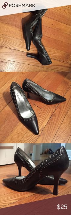 Black Calvin Klein pumps Black Dakota heels with embroidered silver stitching. Great condition. Size 6. A bit too small for me  Calvin Klein Shoes Heels
