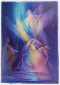*Illuminism Aquarelle*  Veil Paintings by Leszek Forczek  Transparent Water Color, Veil Painting, Watercolor, Liane Collot d'Herbois, Blue Pieta, Washing of the feet, Undying Rose