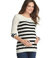 Maternity Striped Popcorn Stitch Sweater - Popcorn stitch detailing packs a playfully textured punch in this striped sweetheart – but it's the puff sleeves that give it that girly twist. Ballet neck. 3/4 puff sleeves. Ribbed front and back yoke, cuffs and hem.