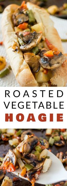 HEALTHY Roasted Vegetable Hoagie is a sandwich filled with roasted veggies! This easy, healthy recipe includes mushrooms, green peppers, tomatoes, potatoes and green beans thrown on a sub roll with melted cheese on top! Make this simple meal for dinner, lunch or cut up into mini sandwiches for appetizers!