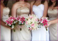 bridesmaids are holding natural hand tie star gazer lilies  bouquets