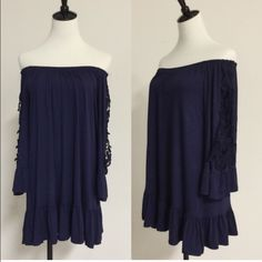 Off shoulder flowy dress Stunning off shoulder mini dress with lace detail on the side. Soft, stretchy cotton. Excellent quality. Made in the USA. Loose fit. ❗️NO TRADES❗️ PLEASE DO NOT PURCHASE THIS LISTING. I WILL CREATE YOUR OWN LISTING  April Spirit Dresses Mini