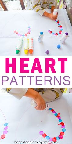Heart Patterns : Heart Patterns – HAPPY TODDLER PLAYTIME Looking for a fun early math activity to do during Valentines? Heart Patterns is an easy to set up pattern making activity that is great for preschoolers. Valentine Theme, Valentines For Kids, Valentine Day Crafts, Valentine's Day Crafts For Kids, Toddler Crafts, Preschool Crafts, Preschool Ideas, Diy Crafts, Creative Crafts
