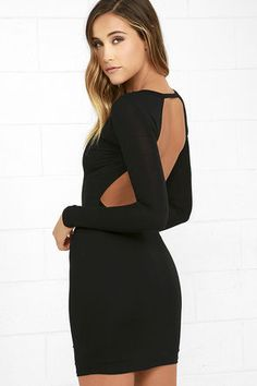 d68ebeebc7a Here to Party Black Long Sleeve Bodycon Dress
