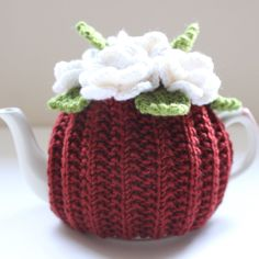 Chestnut Blossom - floral tea cosy in pure merino wool - Chestnut Brown - Size MEDIUM - Ready to Ship Crochet Dinosaur, Tea Cozy, How To Make Tea, Powder Pink, Cosy, Hand Knitting, Pure Products, Merino Wool, Floral