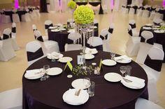 eggplant purple and lime green wedding decor