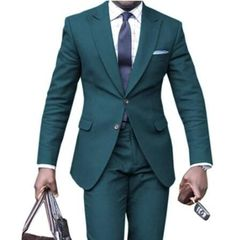 Dark Green Wedding Tuxedos Groom Suits For Men 2021 Slim Fit Prom Party Dinner Peaked Lapel (Jacket +Pants+Tie ) Business Tuxedo Wedding, Wedding Tuxedos, Mens Suits, Groom Suits, Cheap Suits, Prom Party, Green Wedding, Wedding Events, Suit Jacket
