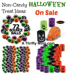 These are great ideas to hand out in place of candy. Non-Candy Halloween Treat Ideas On Sale - Magic Springs 48 pk - Bright Bouncey Balls 72 pk