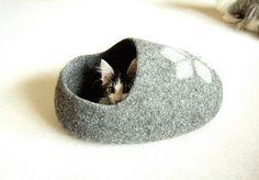 PET - lit de chat - chat grotte - chiot - chat maison - meubles pour animaux de compagnie - Custom gris eco aiguilleté main chat amical lit taille S M L fait main