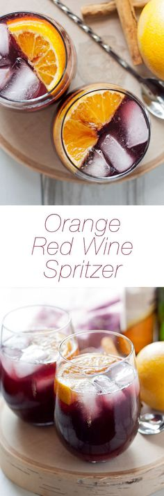 This orange red wine spritzer is a great cocktail for fall and winter. Mix up a batch of cinnamon simple syrup, grab a bottle of your favorite red and try this drink today! Easy Drink Recipes, Punch Recipes, Cocktail Recipes, Smoothie Recipes, Top Recipes, Smoothies, Red Wine Spritzer, Sangria, Party Food And Drinks