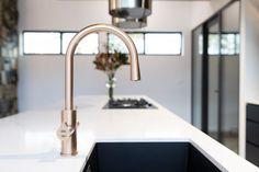Black Interior Design, Residential Interior Design, Interior Styling, Interior Decorating, Timber Kitchen, Kitchen Taps, Wooden Kitchen, Gold Taps, Rose Gold Kitchen