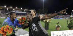 Yohan Blake, Renaud Lavillenie et Usain Bolt fêtent ensemble leur victoire. (Reuters)