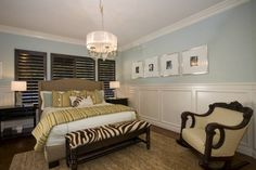 Like I said, everyone wants white molding...to make it warm like you wanted, do the pale blue with Brown molding