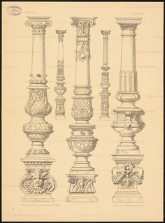 Title Columns (From: Architectural Details.) A collection of columns, ges … - Architectural Design Sacred Architecture, Architecture Antique, Architecture Concept Drawings, Roman Architecture, Classic Architecture, Historical Architecture, Indian Temple Architecture, Architecture Details, Pillar Design