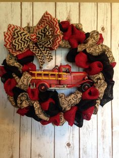 Firefighter Wreath by NapSakBoutique on Etsy