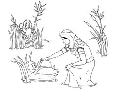 Baby Moses Coloring Page Great For Younger Family Members To Use In Homeschool Or While Listening The Midrash Portions