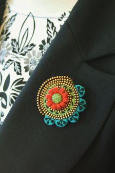 Merino wool felt flower and zipper  brooch by woollyfabulous, $28.00