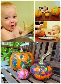 Psychedelic Pumpkins. Could use painter's tape to create a design. Let the kid paint and then peel the tape of later