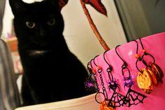 My Night working.. Halloween Jewells  and my Protector. Cat.  Good Night. Mr. Sandman :*