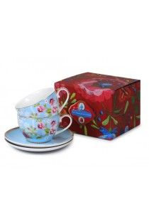 Pip Studio Set/2 Blue Cup and Saucers Chinese Rose Gift Set