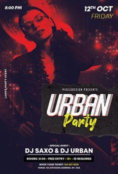 Download the Free Urban Party PSD Flyer Template! - Free Club Flyer, Free Flyer Templates, Free Party Flyer - #FreeClubFlyer, #FreeFlyerTemplates, #FreePartyFlyer - #Club, #Dance, #Disco, #DJ, #Electro, #Music, #Night, #Nightclub, #Party