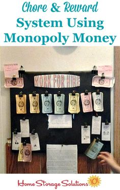 Chore chart and reward and allowance system using Monopoly money featured on Home Storage Solutions 101 Allowance Chart, Chores And Allowance, Chore Rewards, Kids Rewards, Chore Chart Kids, Chore Charts, Chore Board, Monopoly Money, Kids Behavior